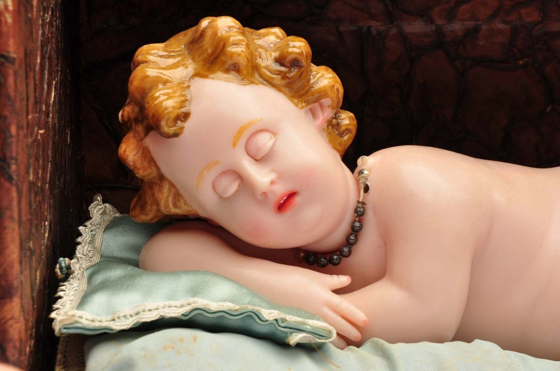 Antique Music Box with Wax Baby. - 4