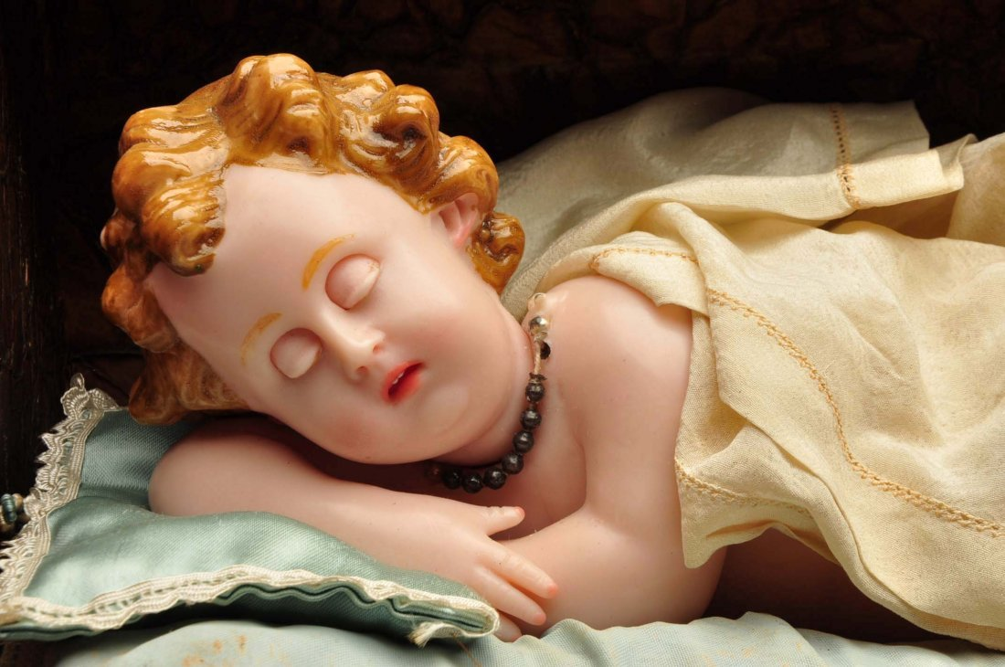 Antique Music Box with Wax Baby. - 5