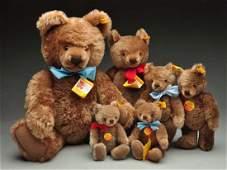 Lot of 6 Steiff Mohair Original Teddy Bears wID