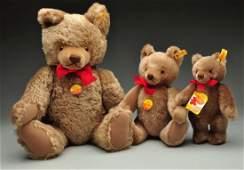 Lot of 3 Steiff Mohair Original Teddy Bears wIDs