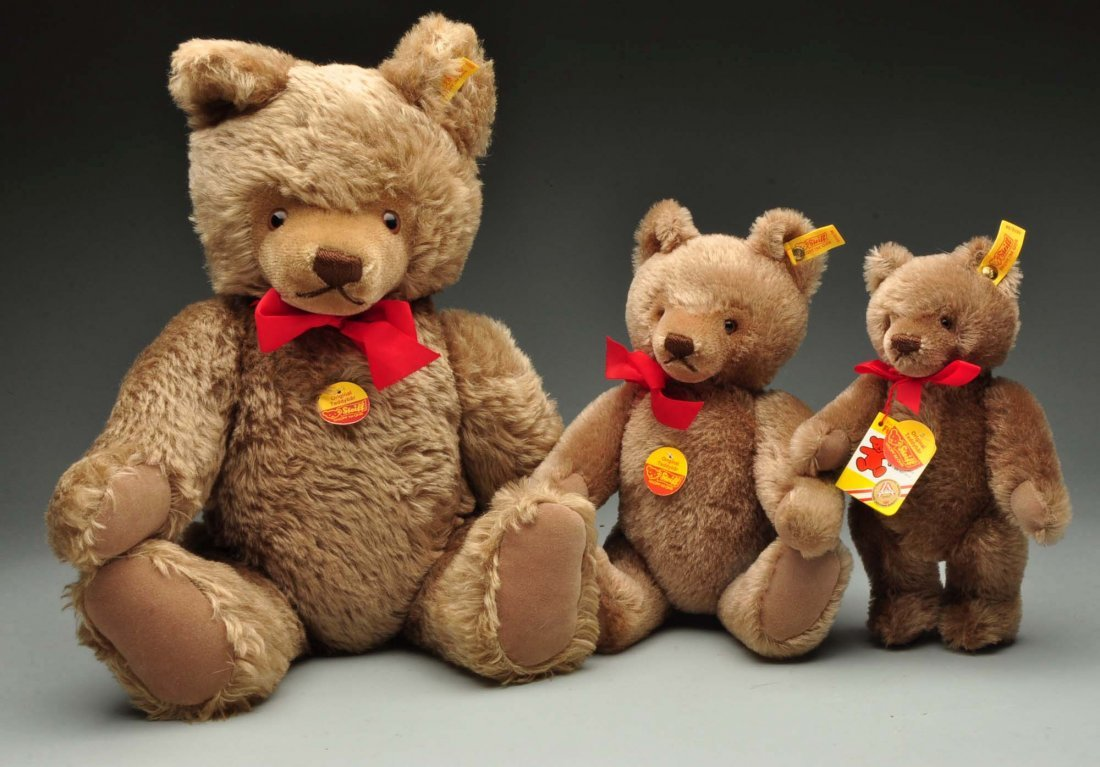 Lot of 3: Steiff Mohair Original Teddy Bears w/IDs