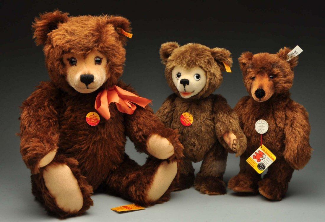 Lot Of 3: Brown Mohair Novelty Style Steiff Bears.