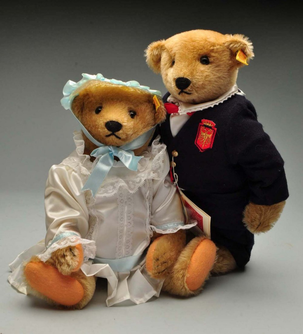 Lot Of 2: Dressed Margarete Strong Steiff Bears.