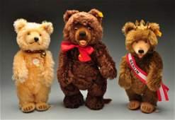 """Lot Of 3: """"Teddy Baby"""" Styled Steiff Mohair Bears."""