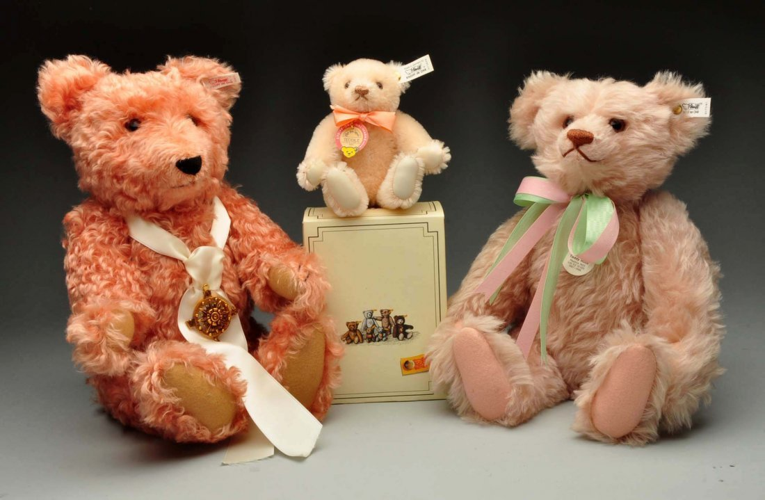 Lot Of 3: Steiff Pink Limited Edition Teddy Bears.
