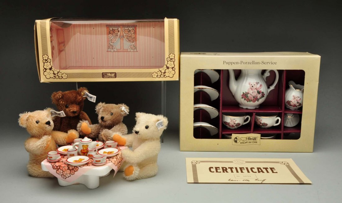 "Lot Of 2:Boxes Sets Of Steiff ""Tea Themed"" Bears."