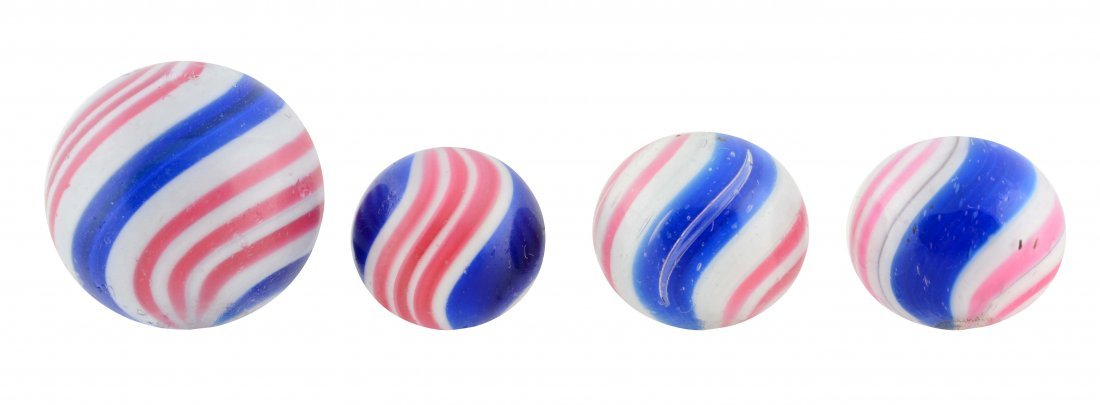 Lot Of 4: Peppermint Swirl Marbles.