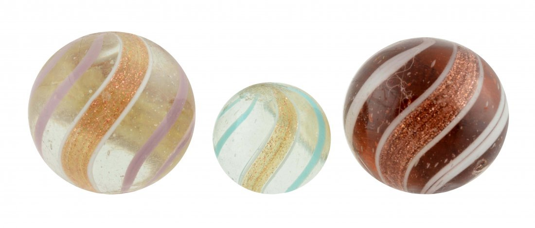 Lot Of 3: Banded Lutz Marbles.