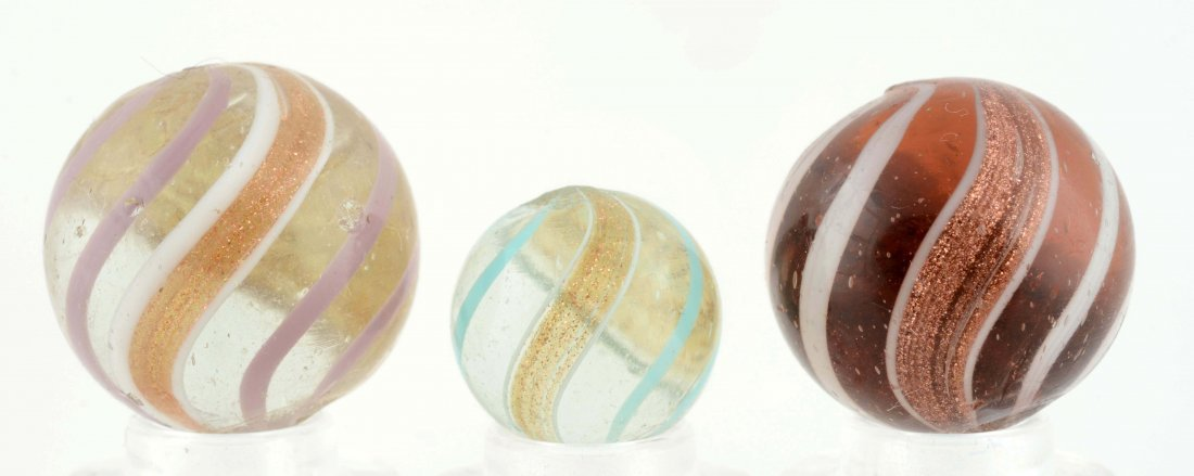 Lot Of 3: Banded Lutz Marbles. - 2