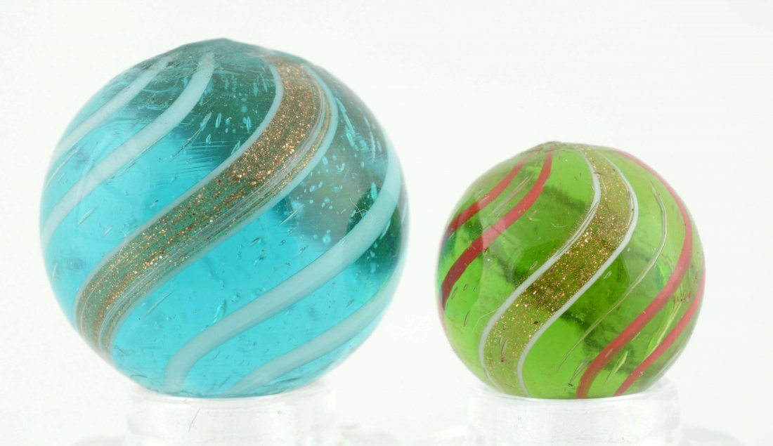 Lot Of 2: Banded Lutz Marbles. - 2