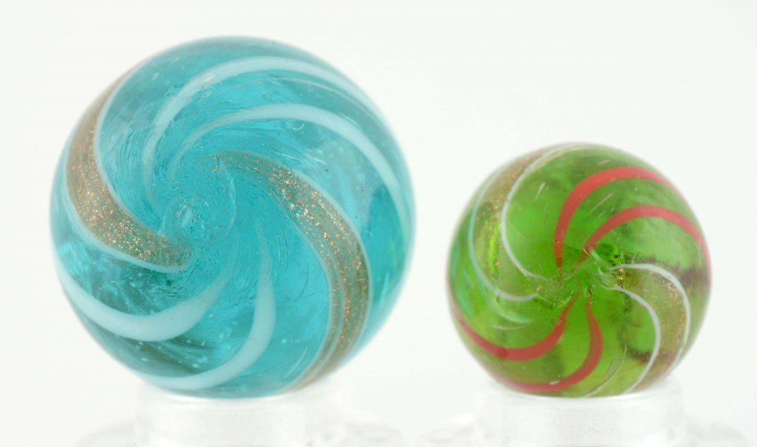 Lot Of 2: Banded Lutz Marbles. - 4
