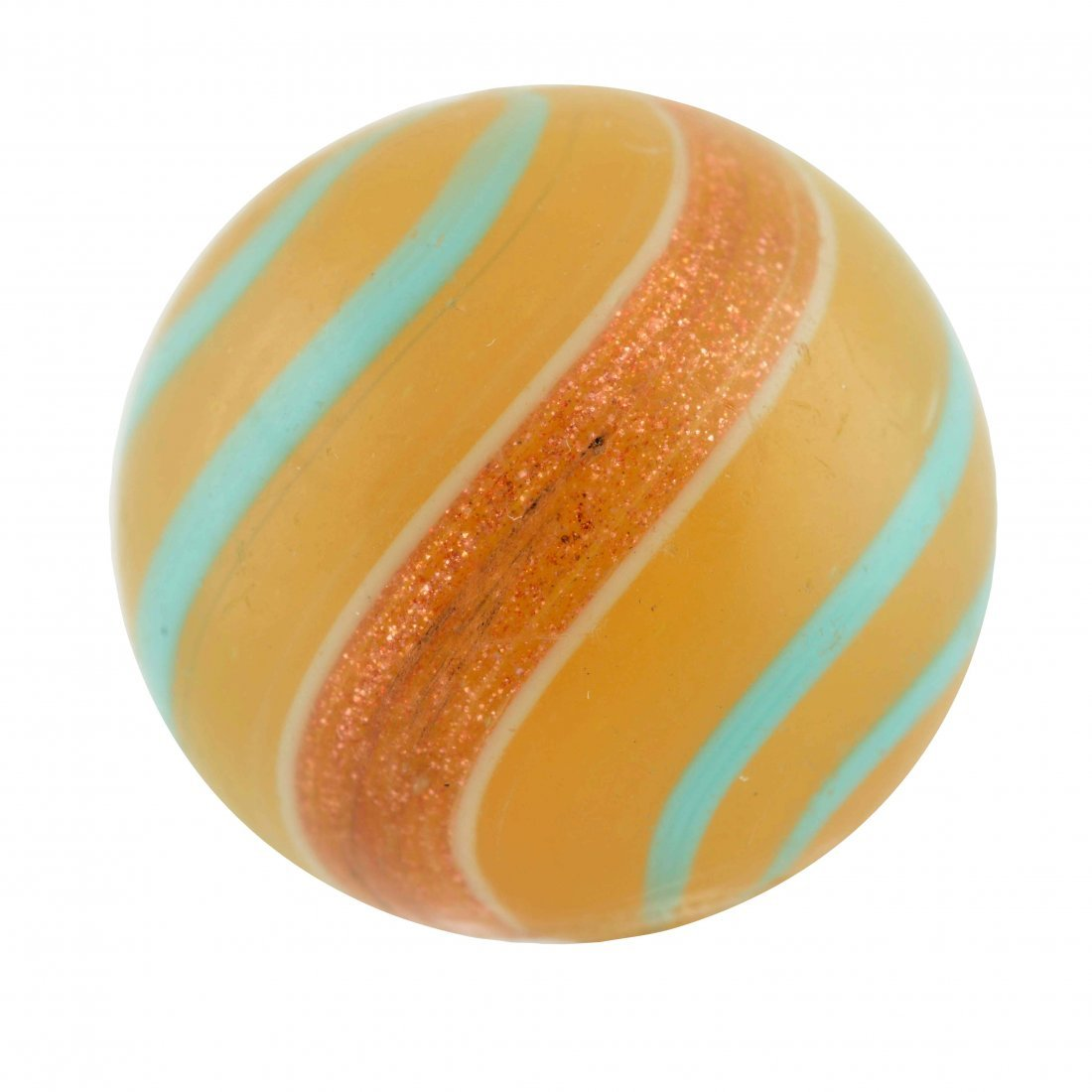 Butterscotch Base Banded Lutz Marble.