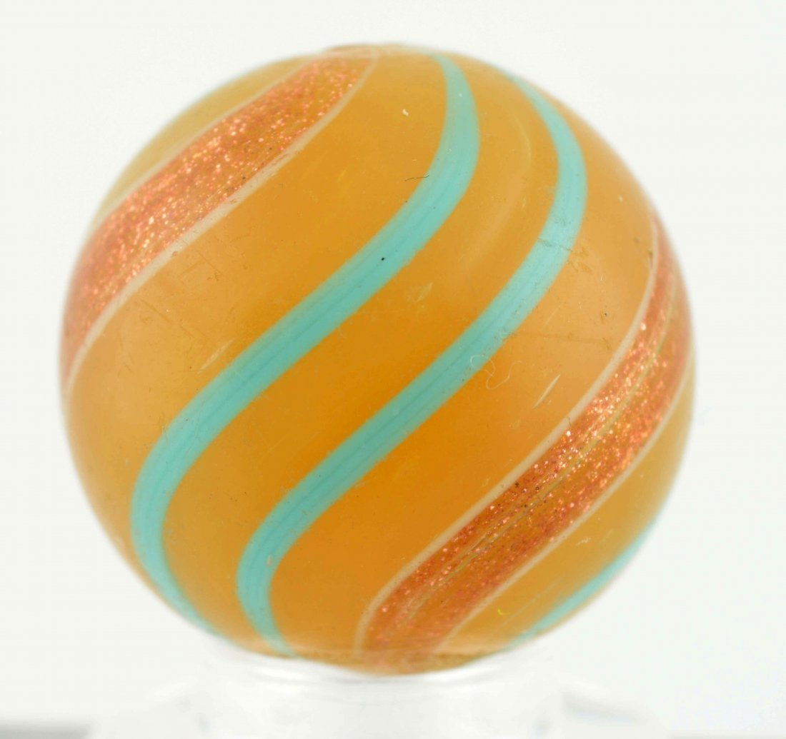 Butterscotch Base Banded Lutz Marble. - 4