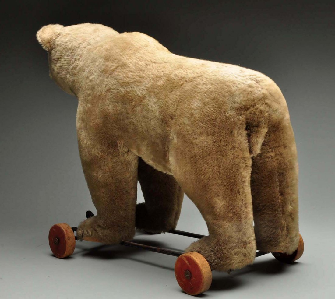 Large Steiff Bear On Wheels. - 2