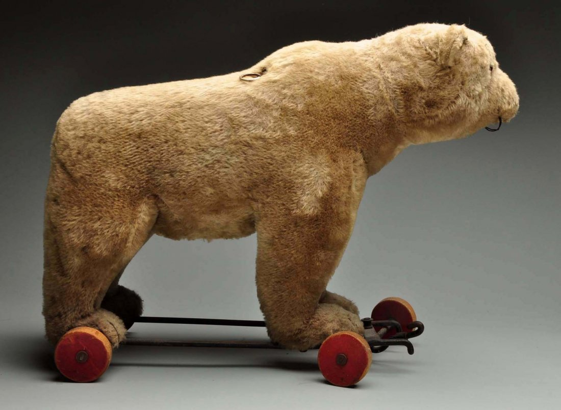 Large Steiff Bear On Wheels. - 4