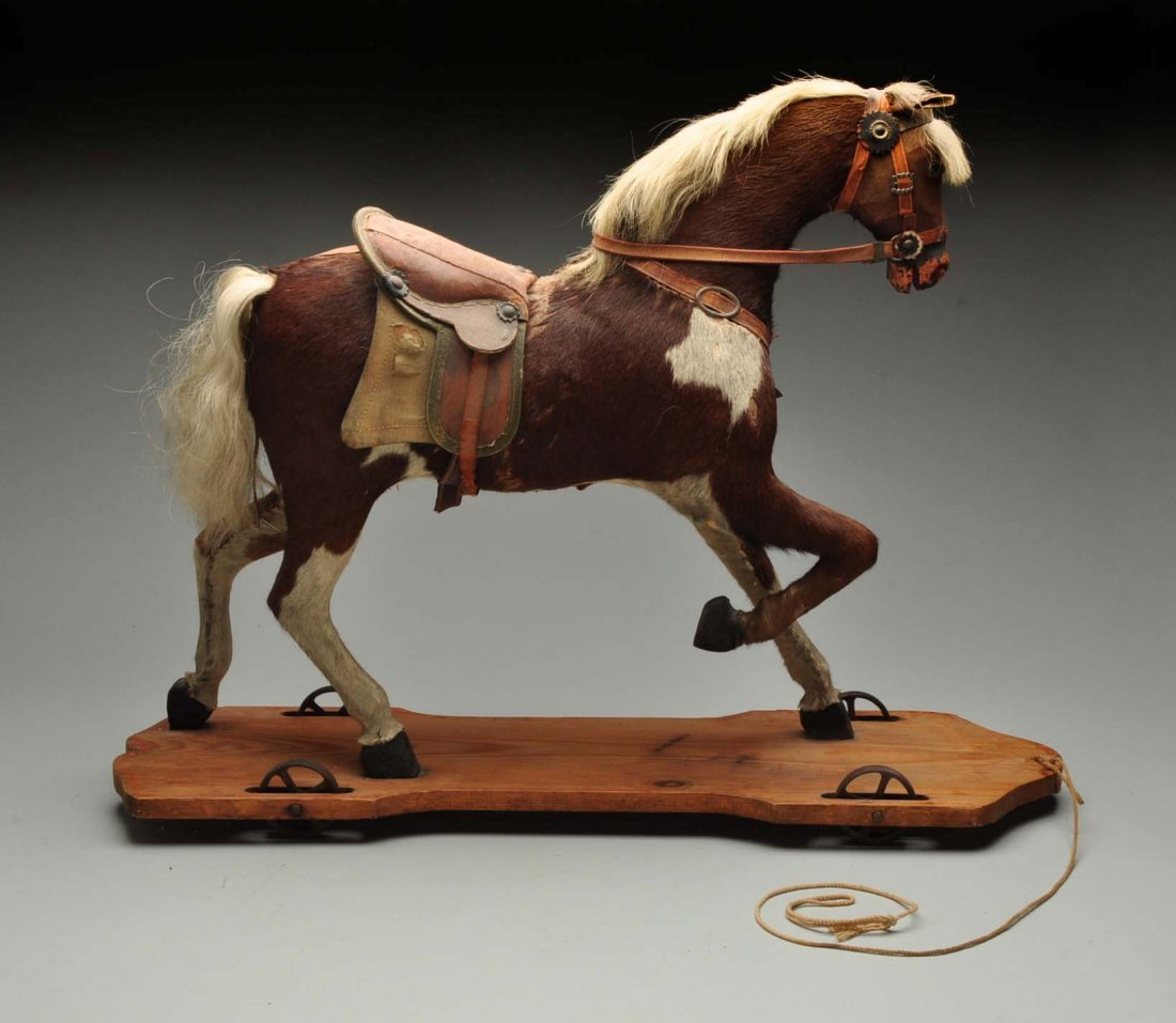 Vintage Straw Filled Horse Pull Toy.