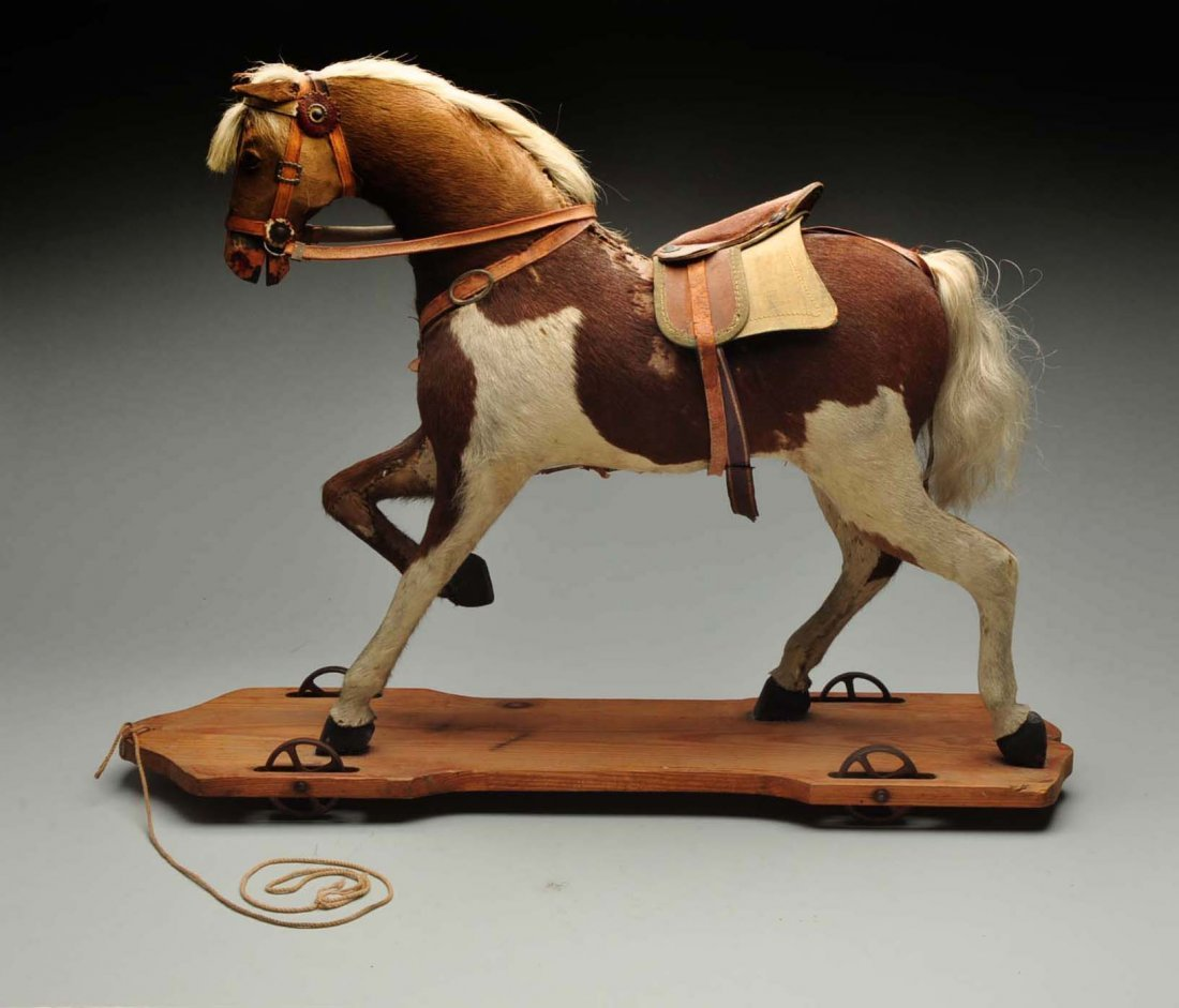Vintage Straw Filled Horse Pull Toy. - 2