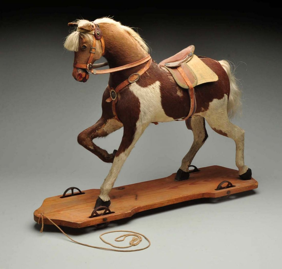 Vintage Straw Filled Horse Pull Toy. - 3