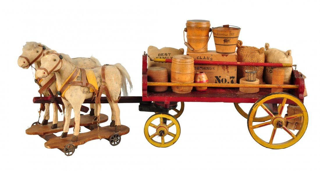 Vintage Wooden Wagon Pull Toy.