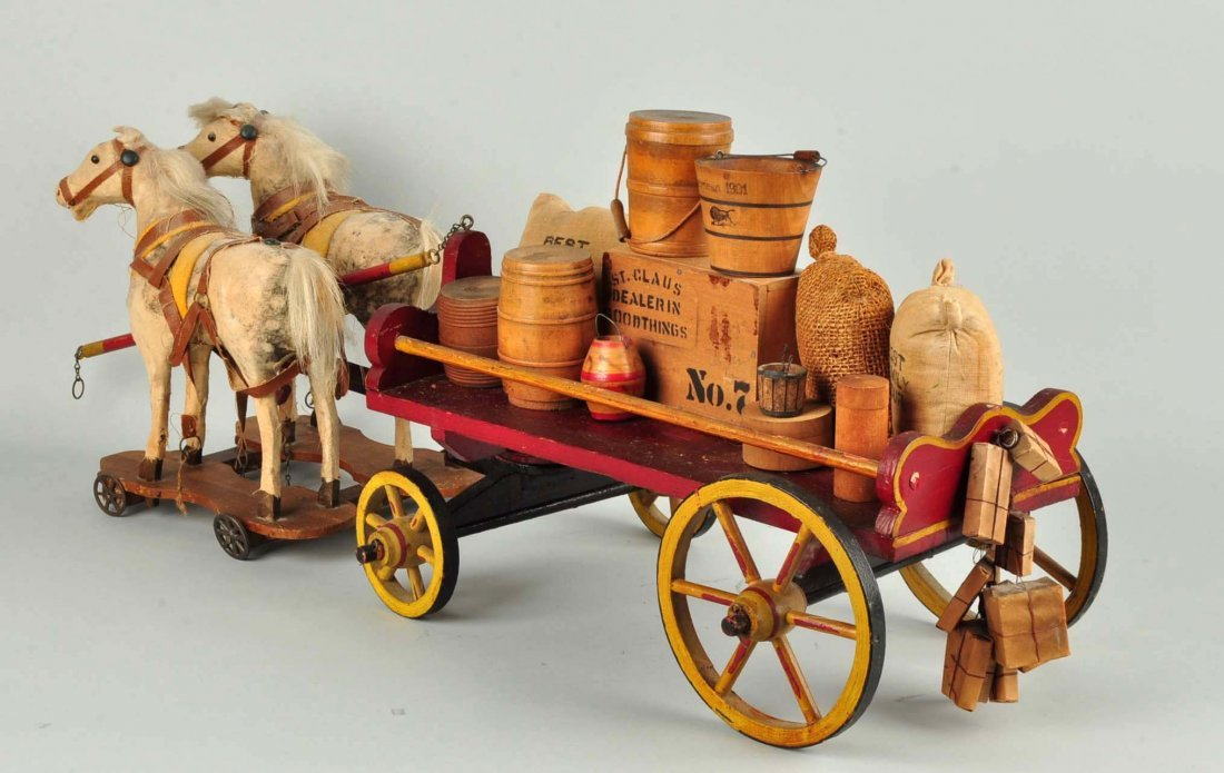 Vintage Wooden Wagon Pull Toy. - 2