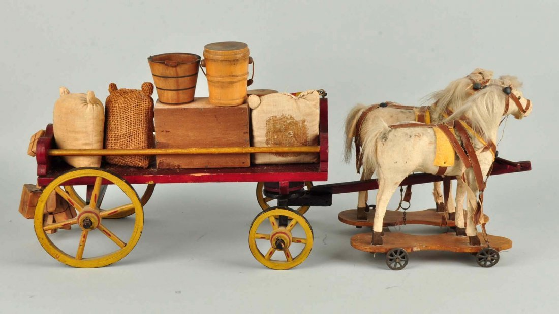 Vintage Wooden Wagon Pull Toy. - 4