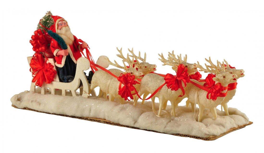 Lg Vintage Japanese Santa in Sleigh with Reindeer.