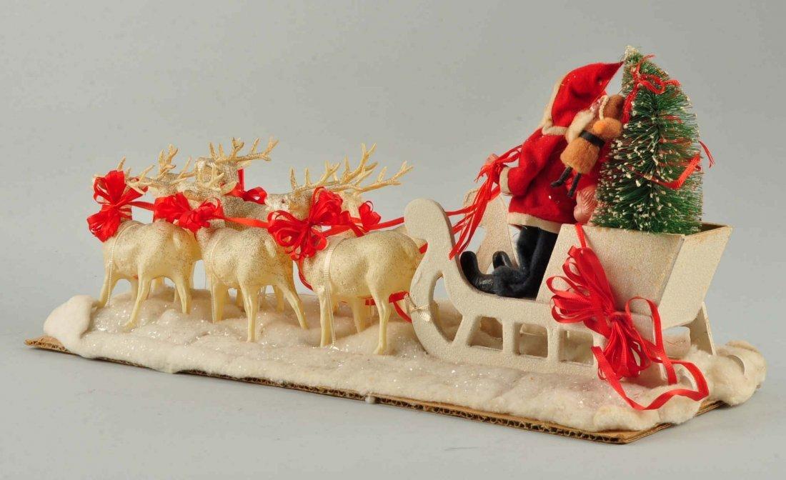 Lg Vintage Japanese Santa in Sleigh with Reindeer. - 2