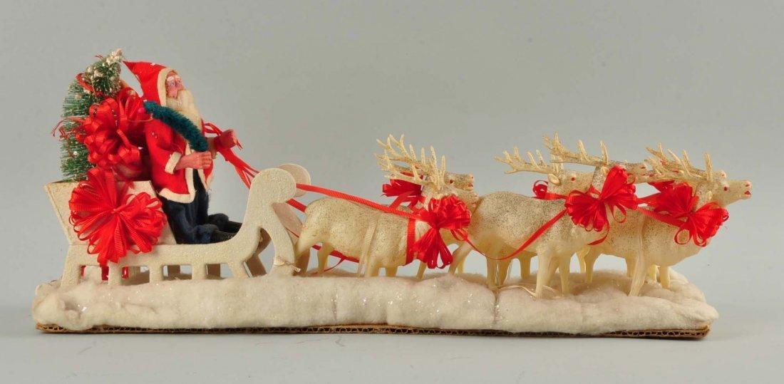 Lg Vintage Japanese Santa in Sleigh with Reindeer. - 3