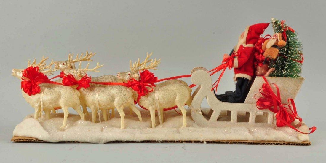 Lg Vintage Japanese Santa in Sleigh with Reindeer. - 4