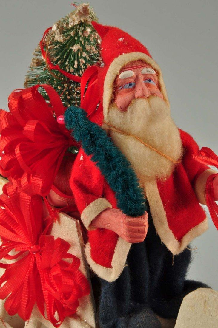 Lg Vintage Japanese Santa in Sleigh with Reindeer. - 5