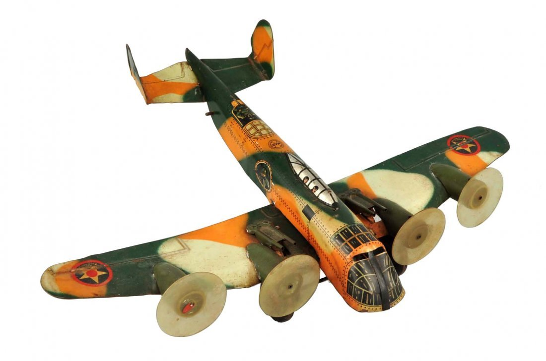 Marx Tin Litho Wind Up Camouflage Airplane Toy.