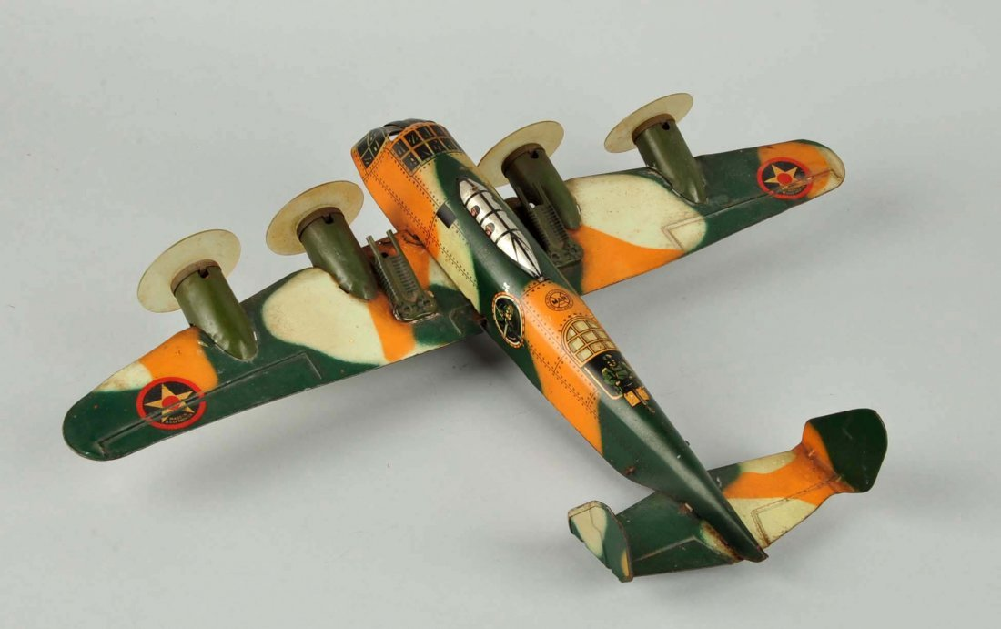 Marx Tin Litho Wind Up Camouflage Airplane Toy. - 2