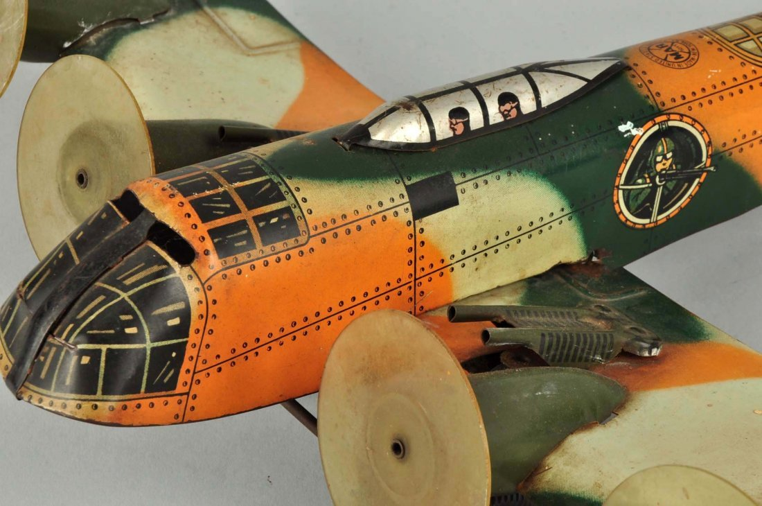 Marx Tin Litho Wind Up Camouflage Airplane Toy. - 5