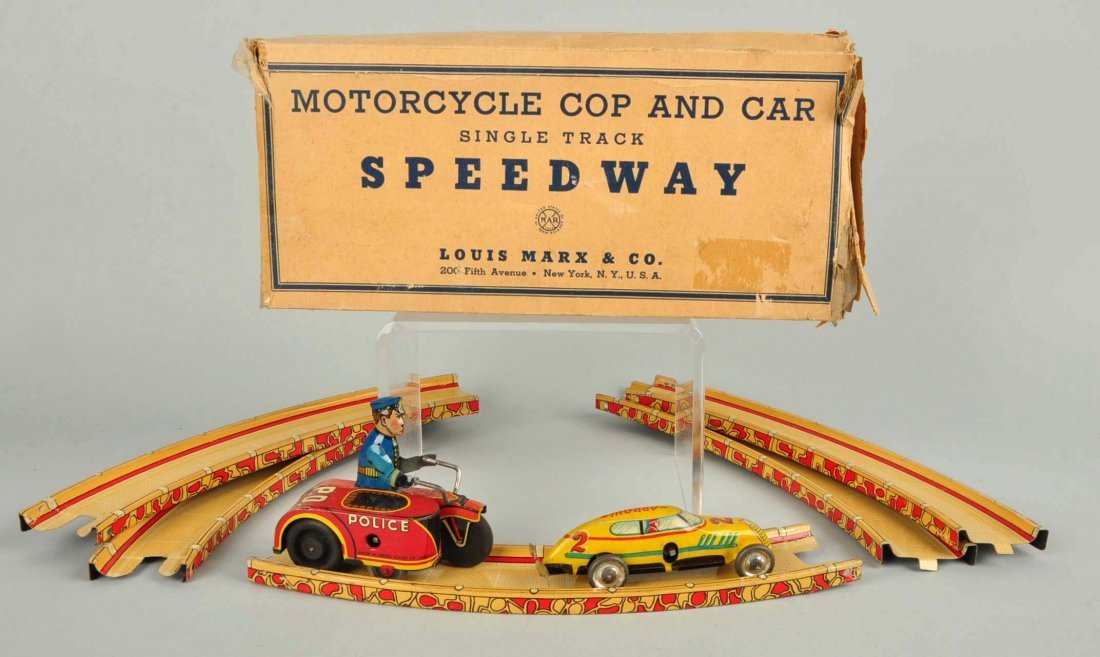 Marx Tin Wind Up Motorcycle Cop & Car Speedway Toy