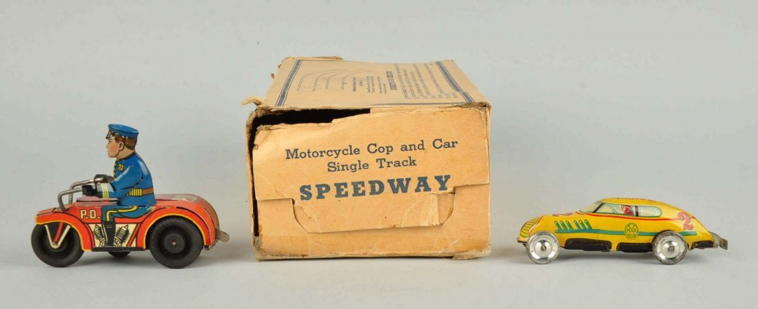 Marx Tin Wind Up Motorcycle Cop & Car Speedway Toy - 4
