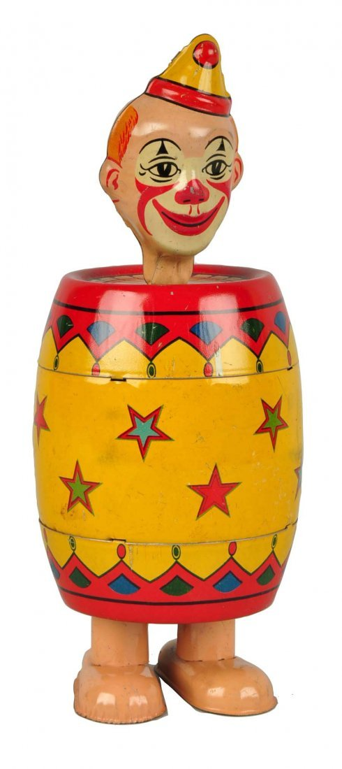 Chein Tin Litho Wind-Up Clown in Barrel Toy.