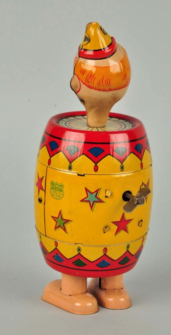 Chein Tin Litho Wind-Up Clown in Barrel Toy. - 2
