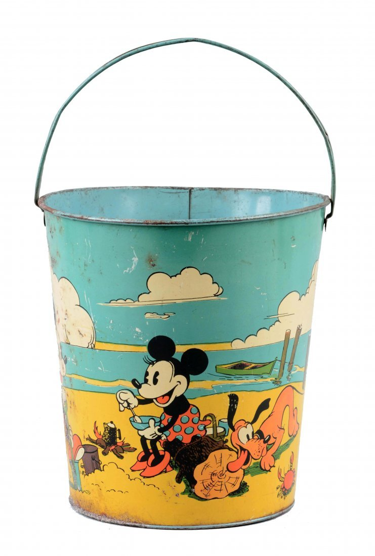 Ohio Art Disney Tin Litho Mickey Mouse Sand Pail.