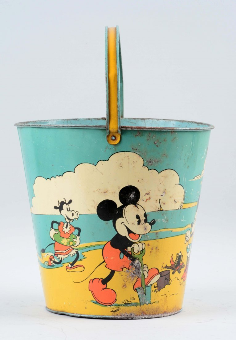 Ohio Art Disney Tin Litho Mickey Mouse Sand Pail. - 2