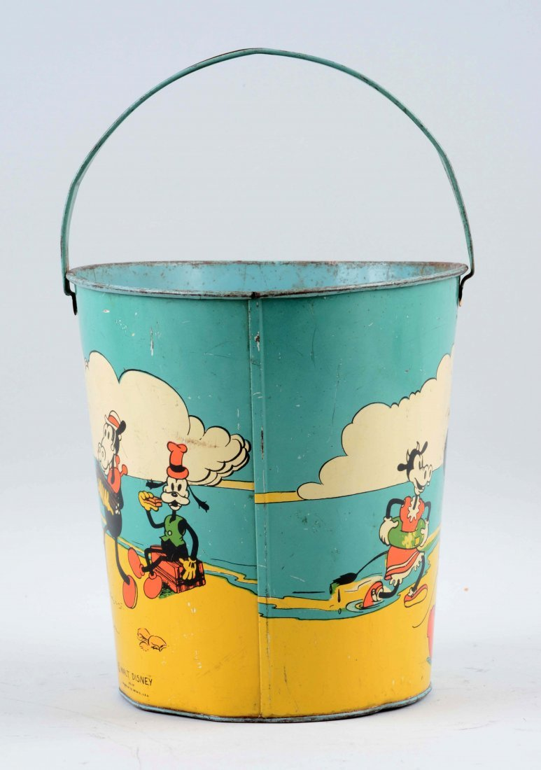 Ohio Art Disney Tin Litho Mickey Mouse Sand Pail. - 3