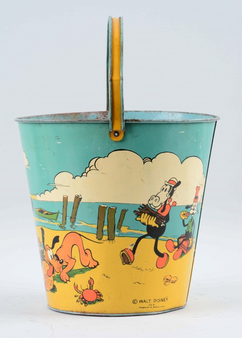 Ohio Art Disney Tin Litho Mickey Mouse Sand Pail. - 4