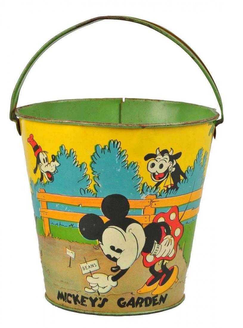 Disney Tin Litho Mickey & Minnie Mouse Sand Pail.