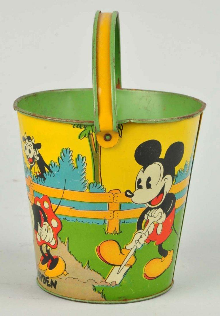 Disney Tin Litho Mickey & Minnie Mouse Sand Pail. - 2