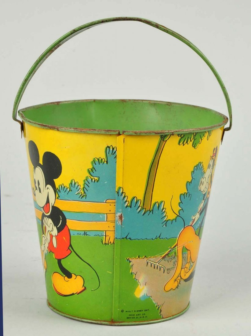 Disney Tin Litho Mickey & Minnie Mouse Sand Pail. - 3