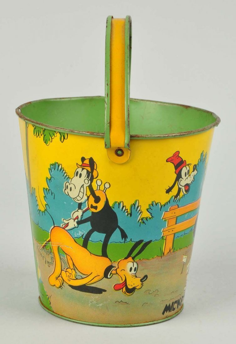 Disney Tin Litho Mickey & Minnie Mouse Sand Pail. - 4