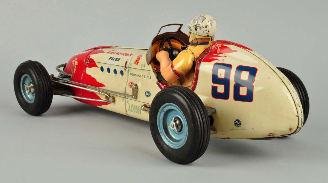 Japanese Tin Litho Friction Champion Race Car. - 2