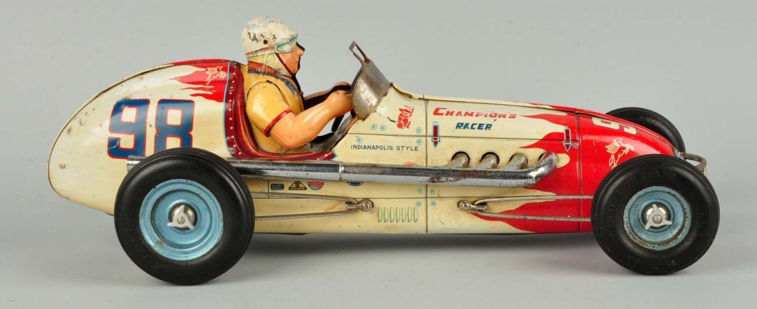 Japanese Tin Litho Friction Champion Race Car. - 5