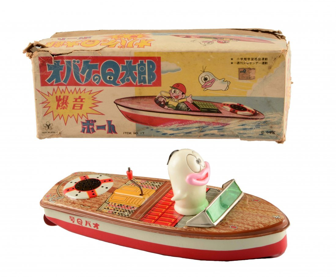 Japanese Tin Litho Friction Oba-Q Taro Tin Boat