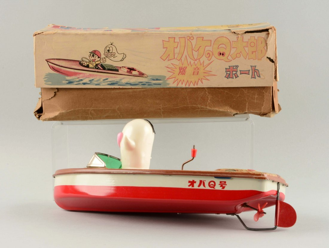 Japanese Tin Litho Friction Oba-Q Taro Tin Boat - 2