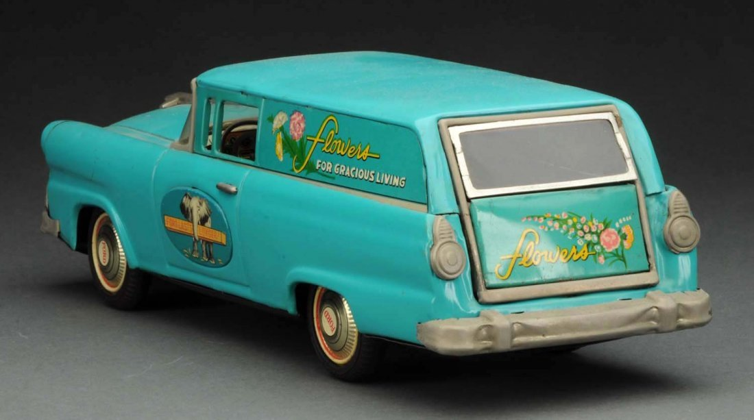 Japanese Tin Litho Friction Flower Station Wagon. - 3